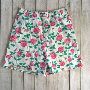 Vintage 80s High Waisted Cotton Rose Print Shorts
